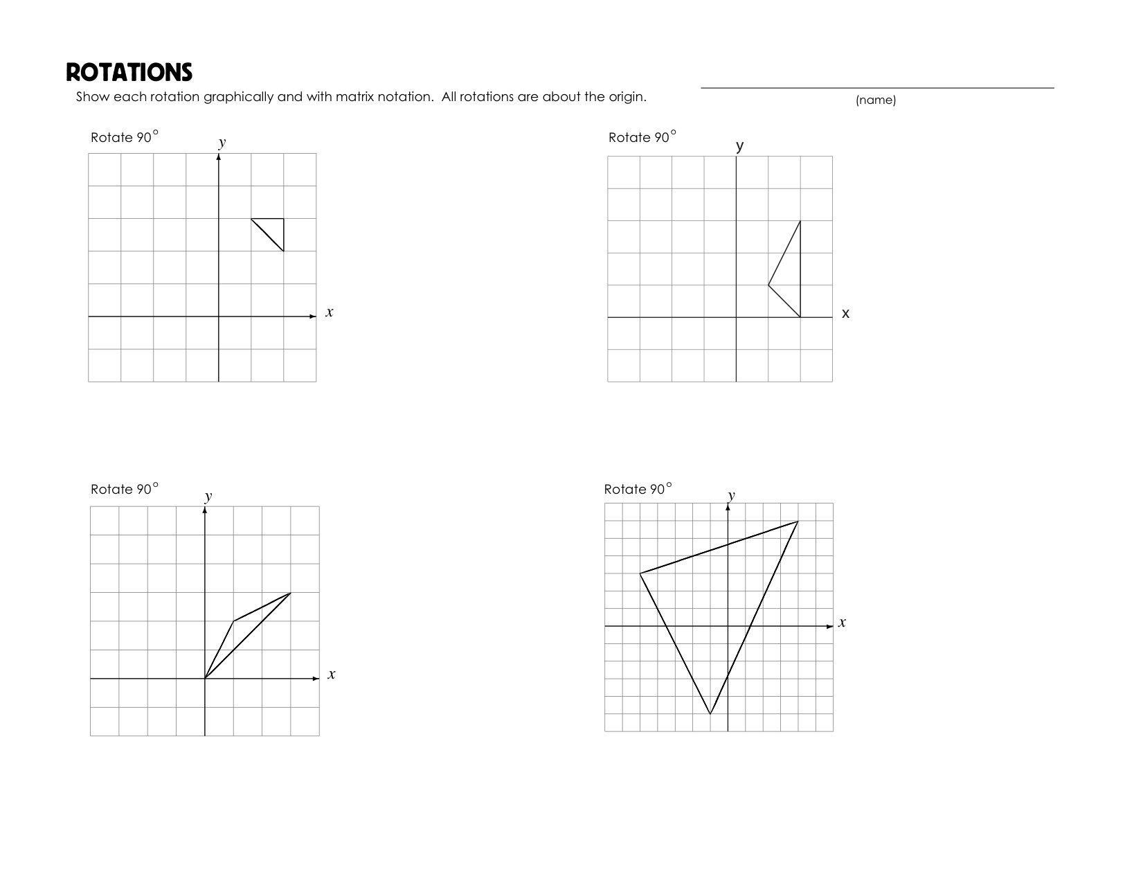 Printables Rotations Worksheet rotations worksheet mrmillermath rotationsws1