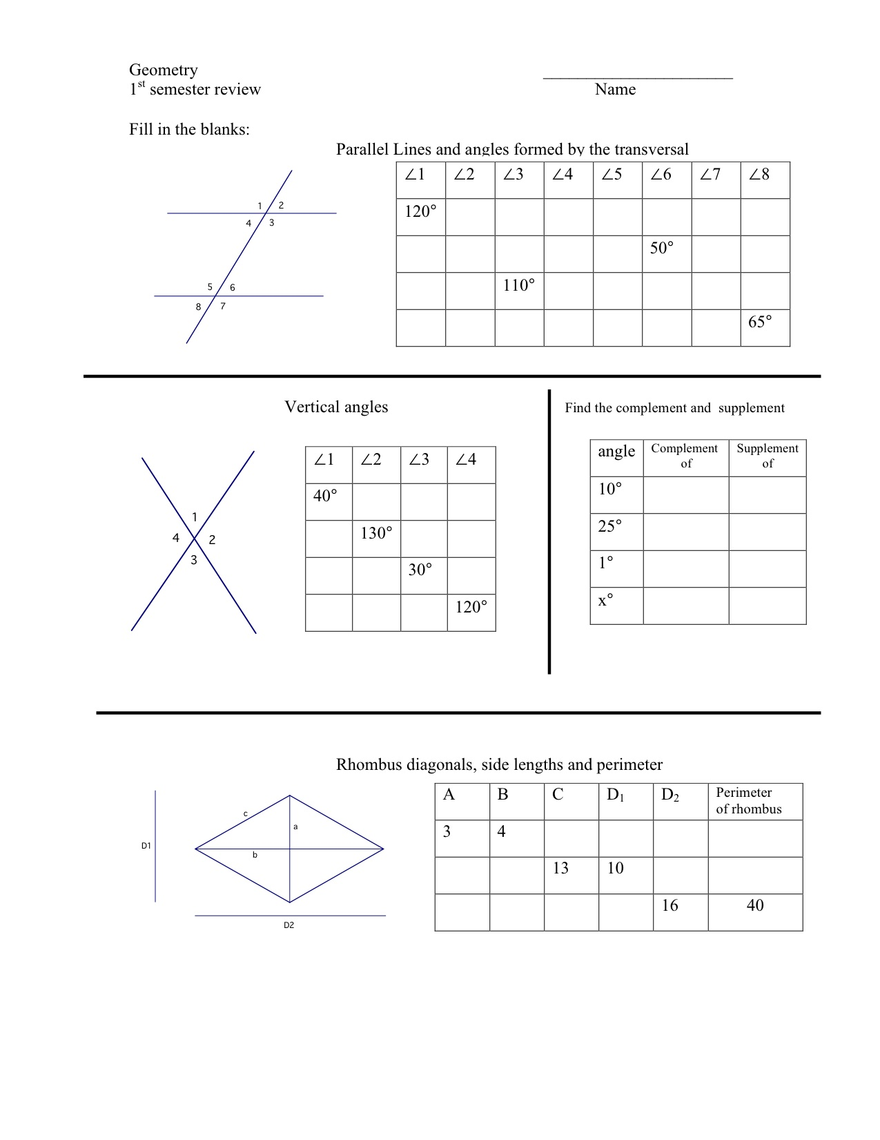 worksheet Angles And Parallel Lines Worksheet geometry first semester review worksheet mrmillermath 1st sem chart2